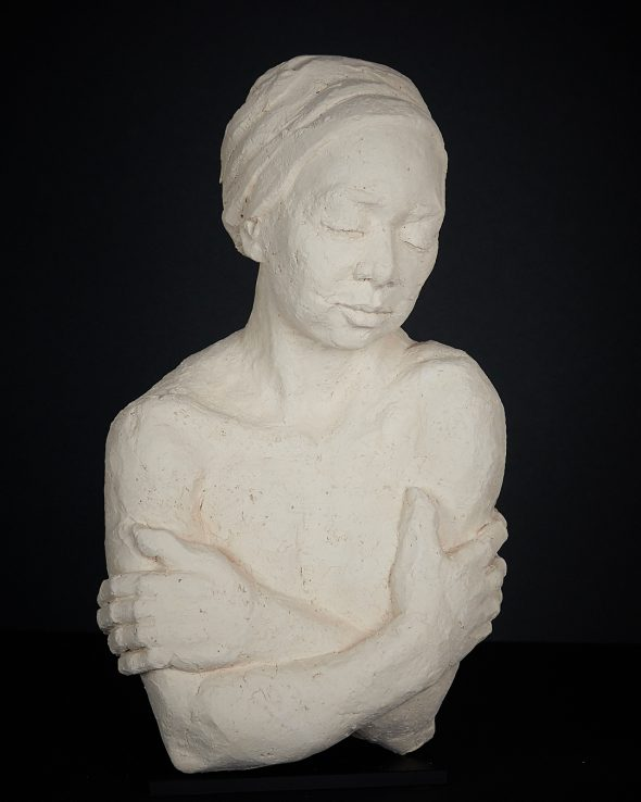Portrait Sculpture, untitled, by Uta Beckert - height 35cm, clay, 2018